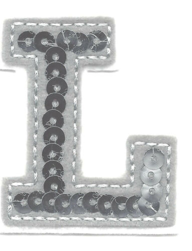 """LETTERS Iron On Embroidered Applique Silver  Sequin  2/"""" Letter /""""L/"""""""
