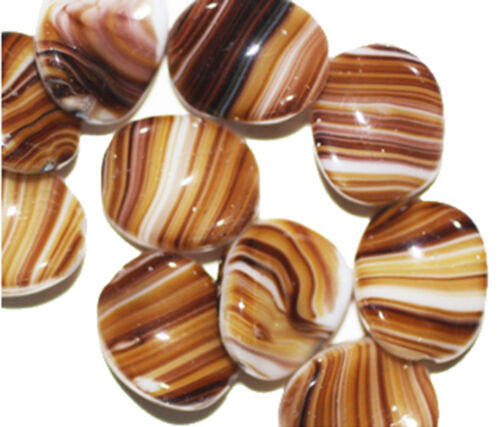 Brown Banded Twist Czech Pressed Glass Beads 16mm pack of 10