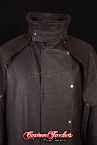 Men/'s FRONTIER DUSTER Brown SKIPPER Hide Long Riding Leather Jacket Coat 0091
