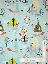 Woodland Animal Owl Deer Fox Trees Cotton Fabric Timeless Treasures C4800 - Yard