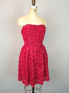 Ya Red Floral Strapless Cocktail Party Dress Womens Size Large NWT