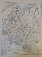 Asia - European Russia Antique Map 1891 Large 2 Sided Atlas