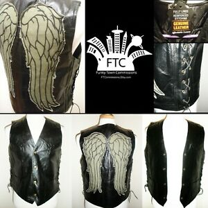 e44c8c612 Details about The Walking Dead Daryl Dixon Inspired Angel Wings Leather  Vest TWD (NEW!)