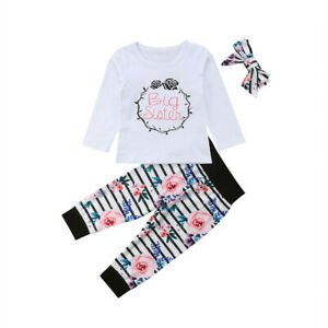 US Toddler Kid Baby Girls Little Big Sister Romper T-shirt Pants Outfits Clothes