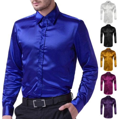 Fashion Mens Long Sleeve Casual Shirts Silk-Like Satin Tops Dance Dress S//M//L//XL