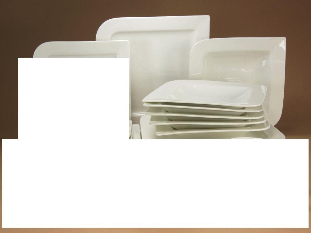 Pacific Blanc Service De Table 6 personnes 18tlg Porcelaine Vaisselle Set NOUVEAU rectangulaire