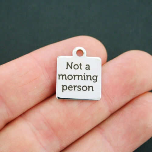 Not a Morning Person Morning Person Stainless Steel Charm BFS320