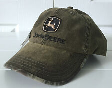 John Deere Green Marsh Cap Hat w Realtree Hardwood Camo Details Adjustable