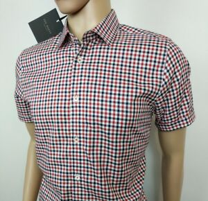 a6126e281e78 Ted Baker London Mens Shirt Red Gingham Check Size 3 UK S Chest 38 ...