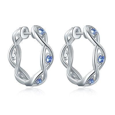 Solid 925 Sterling Silver Real Tanzanite & Zircon Eternity Hoop Earrings Women