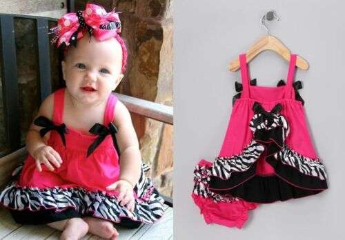 Baby Girls Trapeze Dress Ruffle Bloomer 2 Piece Summer Cotton Set Size 0.1.2