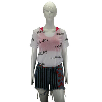 Birds of Prey Harley Quinn Cosplay Costume Women Summer T-shirt Tee Top