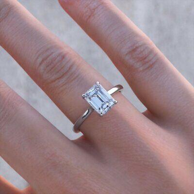 4,00Kt Diamant Solitär Verlobungsring Weißgold-Finish Frauen Damen Ring gr 50-62