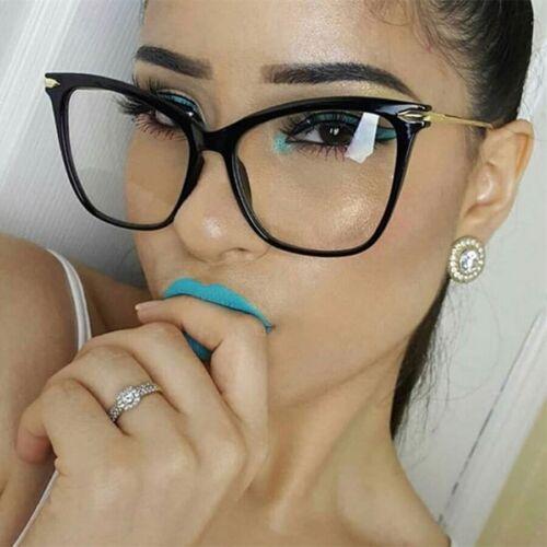 Fearless Mujeres Gafas Ojo de Gato Gafas de Moda Lente Claro Marco Metal Grande Nuevo