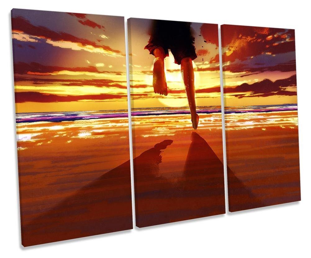Beach Sunset Holiday Travel TREBLE CANVAS WALL ARTWORK Print Art