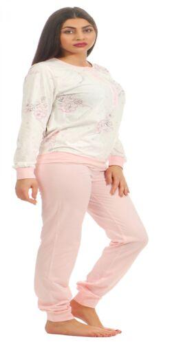 Klassischer Damen Pyjama Schlafanzug mit Bündchen und Knopfleiste 201 90 304