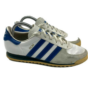 Details about Vintage Adidas Rom Made In USA White Leather Trainers Mens 6.5 Old Shoes