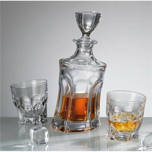 Verres Cristal Whisky Vodka Set Decanter 23 oz (environ 652.03 g) 6 gobelets 10 oz (environ 283.49 g) Tchèque Bohème