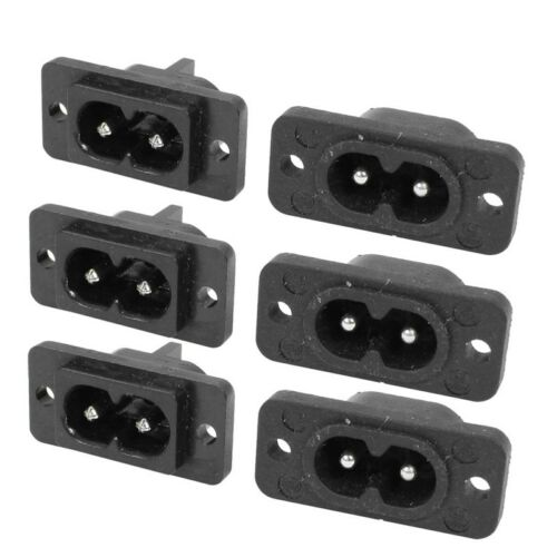 Noir 2 Pin IEC320 C8 Vis Monture Inlet Fiche Prise AC 250V 2.5A 6 Pcs R SODIAL