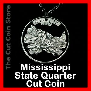 Mississippi-25-MS-Quarter-Cut-Coin-Necklace-Southern-Magnolia-State-Jewelry