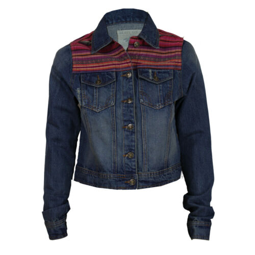 ladies denim jacket womens gilet Brave Soul jeans crop top ripped ethnic patch