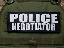 """3x8"""" POLICE NEGOTIATOR Tactical Hook Plate Carrier Morale Raid Patch SWAT"""