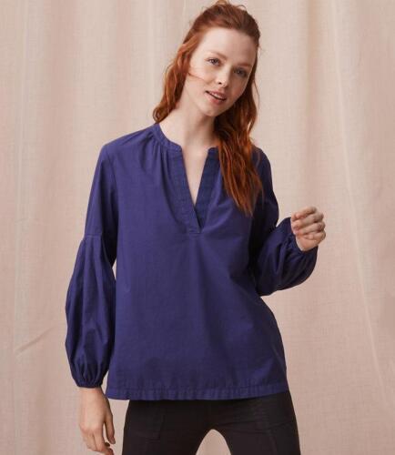 NWT Ann Taylor LOFT Lou Grey Split neck top blouse Blue various sizes