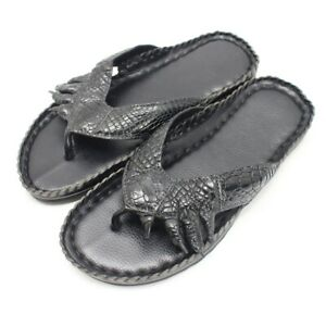 Men/'s Flip-flop Genuine Crocodile Alligator Skin Leather Handmade US Size 9