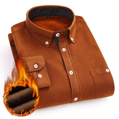 Mens Long Sleeve Flannel Winter Warm Casual Formal Work Shirt Dress Shirt Tops