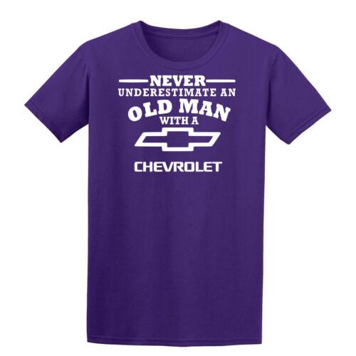 5XL Negro Chevolet nunca subestimes un anciano Hombre Camiseta Papá Abuelo S