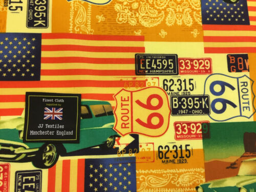 USA Flags Printed 100/% Cotton Poplin Fabric. Route 66 American Cars