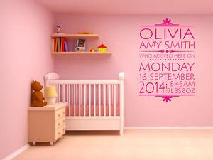 PERSONALISED-Date-Of-Birth-Nursery-Newborn-Wall-Sticker-Decal-Modern-Transfer