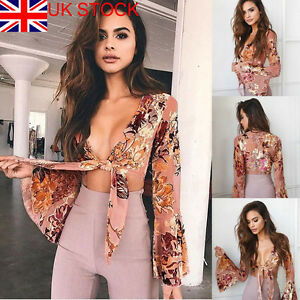 Womens-Floral-Tie-Wrap-Long-Sleeve-Party-Clubwear-Blouse-Shirt-Crop-Tops-XS-XL
