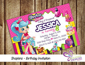 Image Is Loading Shopkins Birthday Invitation Personalized Digital Printable File