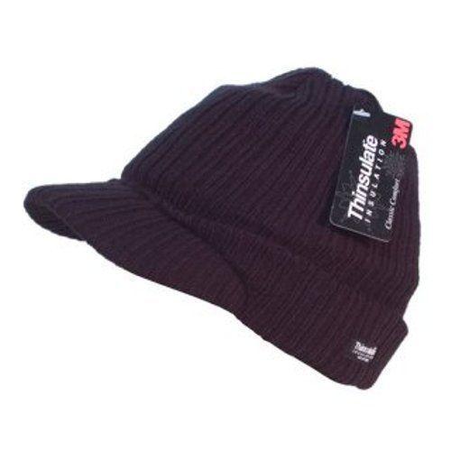 Unisex Black Knitted Thinsulate Peaked Beanie Hat Fleece Lined Wooly Peak Cap