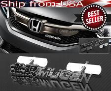 3D Chrome Black Mugen Front Black Emblem Badge For Honda Acura Grill Grille