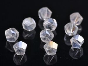 50pcs-8mm-Twist-Helix-Glass-Crystal-Findings-Loose-Spacer-Beads-Charms-Clear-AB