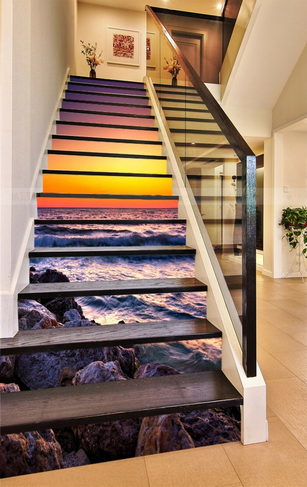 3D Sea View Dusk 94 Stair Risers Decoration Photo Mural Vinyl Decal Wallpaper AU