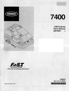 Tennant 7400 GM Engine Parts Manual 007000  / 330970 Rev. 03 - Digital Format