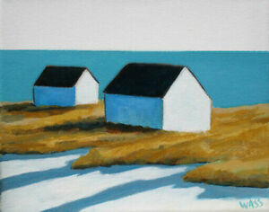 Mid-Century-Modern-Block-Island-Rhode-Island-Original-Oil-Painting-Signed