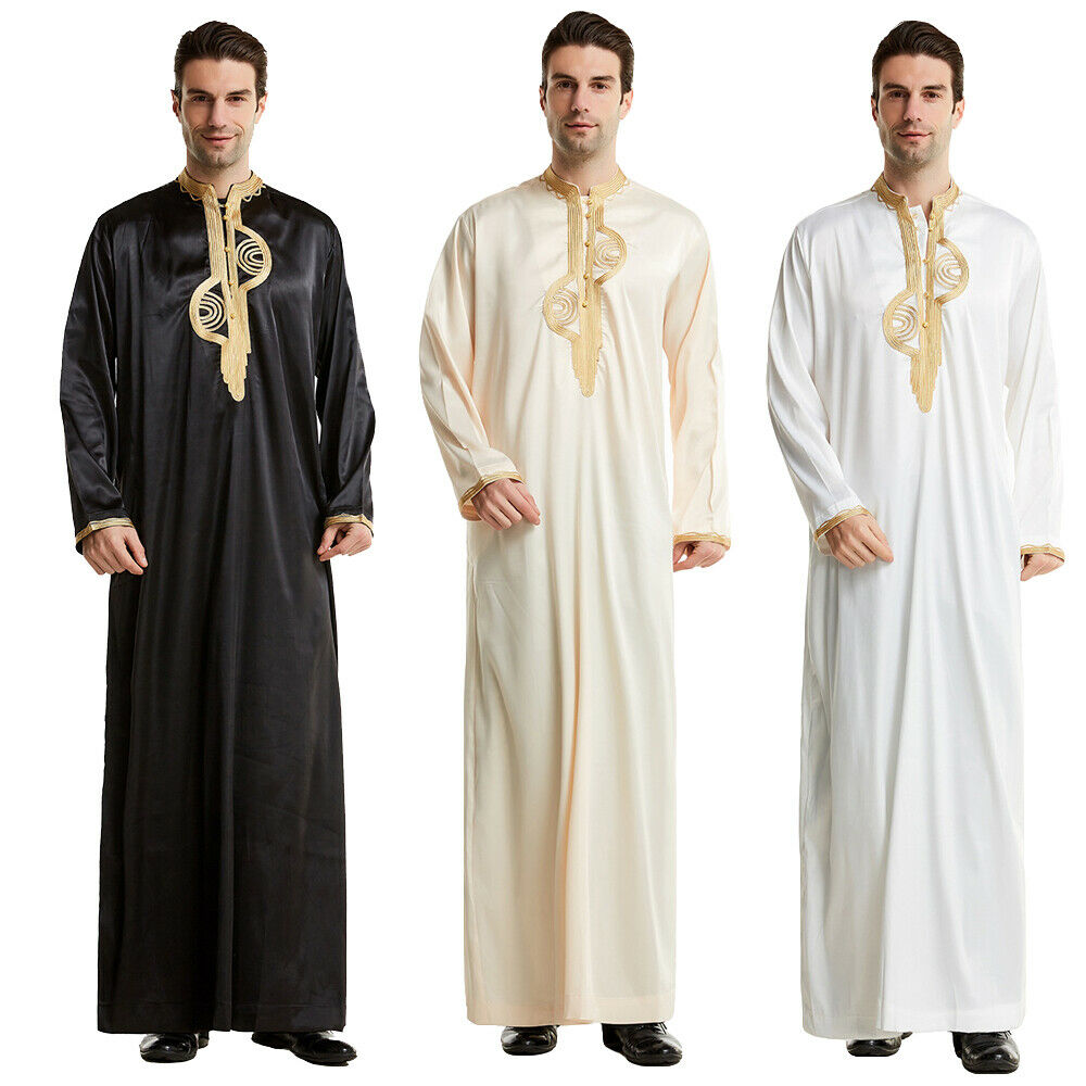 Muslim Mens Saudi Robe Long Sleeve Thobe Jubba Dishdasha Thawb Thoub Kaftan Arab