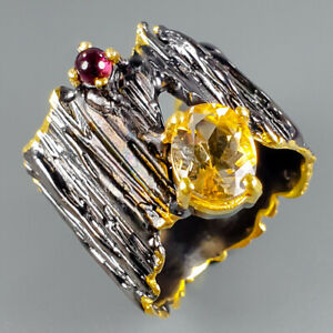 Handmade-Natural-Citrine-925-Sterling-Silver-Ring-Size-6-R111121