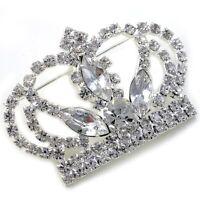 Clear Princess Queen Crown Tiara Rhinestone Brooch Pin