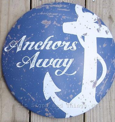 Anchors Away metal TIN SIGN rustic vintage nautical coastal wall art bar decor
