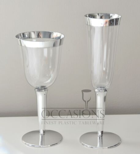 bulk wedding disposable plastic champagne flutes wine cups silver rim glasses
