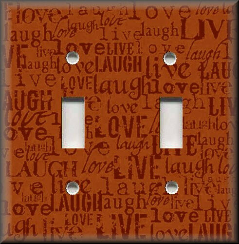 Metal Light Switch Plate Cover - Live Laugh Love Home Decor Words Orange Decor
