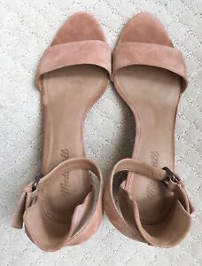 Pale Pink Suede Block Sandals/Heels