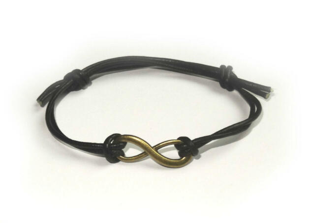 Bronze Infinity Symbol Leather Friendship Bracelet Boho Bohemian