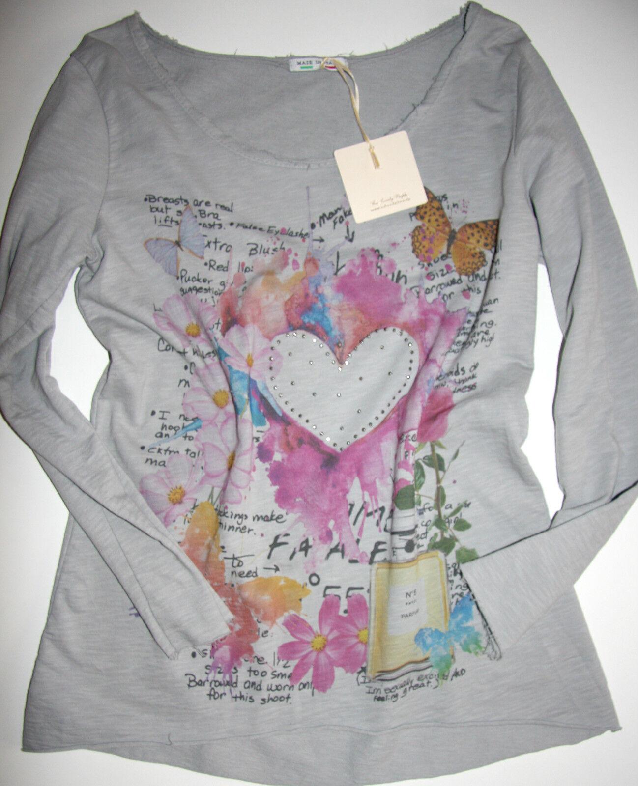 V Milano  go for style Langarm-Shirt   Hearts  Grey  Offnähte size 38-40 Neu