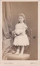 Photo cdv : Cayol Frères ; Petite fille debout sur une chaise , vers 1865